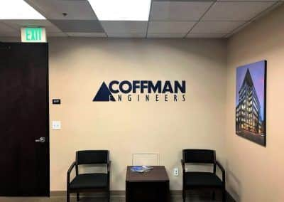 Reception Area Sign for Coffman Engineers in Orange County, CA