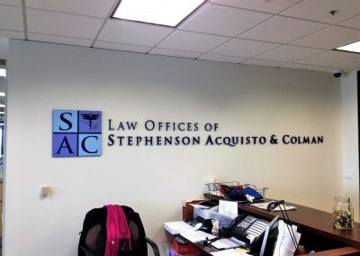 Law Office Sign for Law Offices of Stephenson, Acquisto & Coleman in Burbank, CA