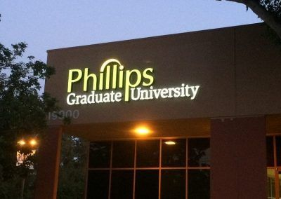Lighted Letter Sign for Phillips Graduate University in Chatsworth, CA