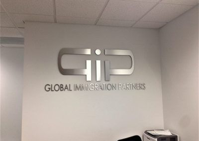 Law Office Lobby Sign for Global Immigration Partners in Calabasas, CA