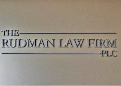 Metal Law Firm Logo Sign for The Rudman Law Firm in Studio City, CA