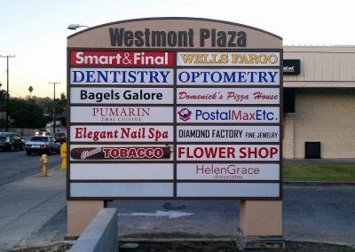 Multi-tenant Monument Sign for Outdoor Strip Mall in Rancho Palos Verdes, CA