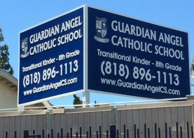 Outdoor School Sign for Guardian Angel Catholic School in Pacoima, CA