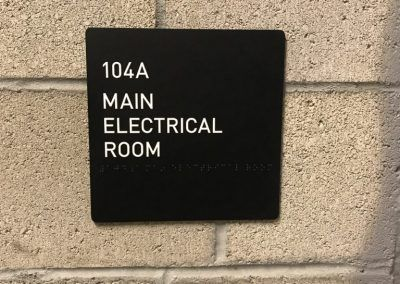 Main Electrical Room ID Sign for Parking Garage in Culver City, CA