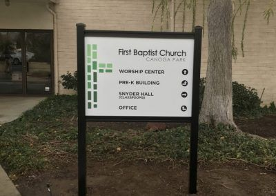 Post & Panel Sign for First Baptist Church in Canoga Park, CA