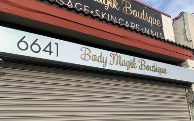 Storefront Sign for Body Magik Boutique in Los Angeles, CA